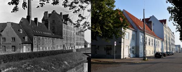 Før og nu foto af bygninger. Gaden er renoveret og facaden er pusset op på det nye foto