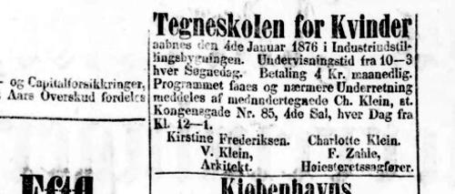 Avisannonce for Tegneskolen for kvinder fra 1875