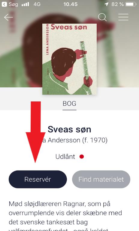 Eksempel på reservering i app