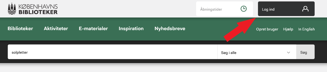Viser hvor man logger ind på hjemmesiden
