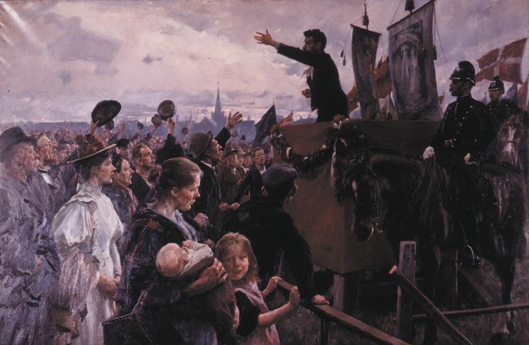 En agitator på Nørre Fælled. Maleri af Erik Henningsen, 1899.
