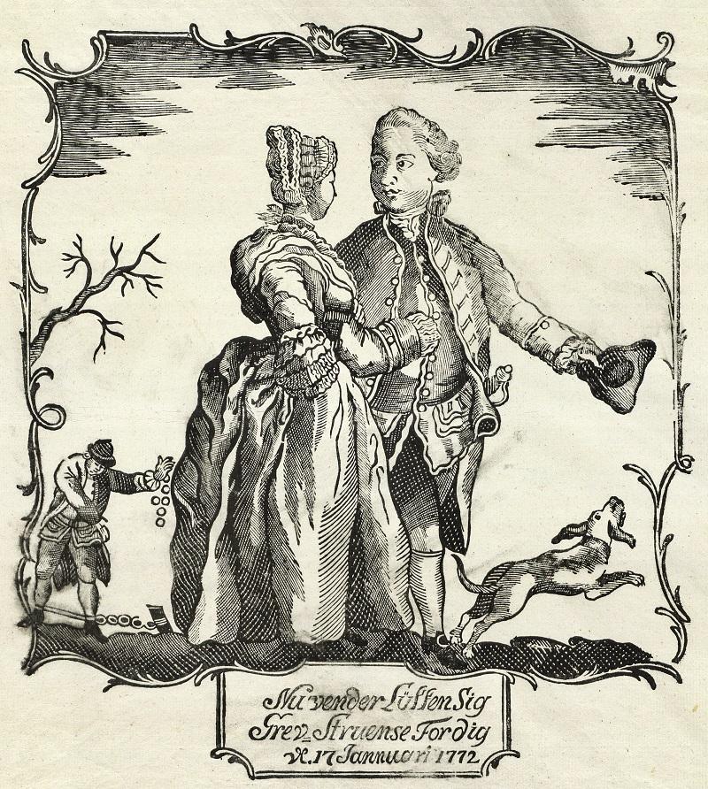 Smædebillede af Struensee og Caroline Mathilde