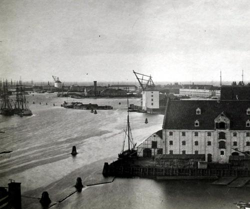 Gammelt foto med view over Københavns Havn