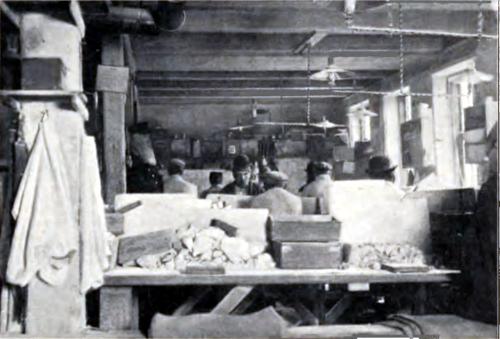 Værksted med arbejdende mænd