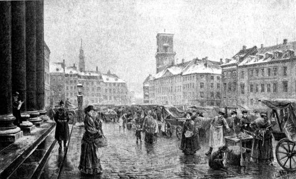 Sort-hvid billeder af Nytorv med hestevogne og mennesker i gammeldags tøj.