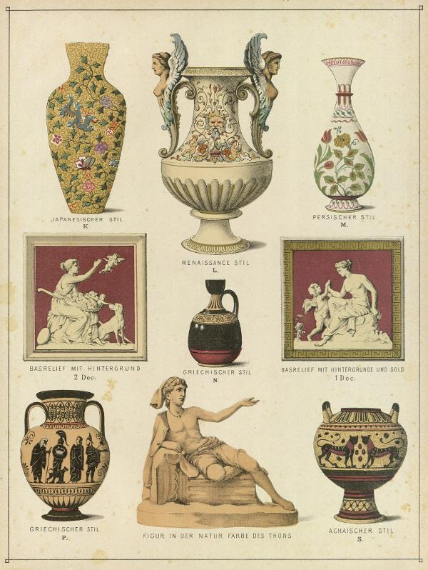Side fra katalog med illustrationer af keramisk arbejde