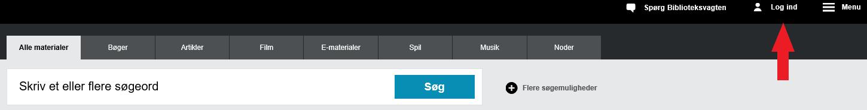 Viser log ind på bibliotek.dk