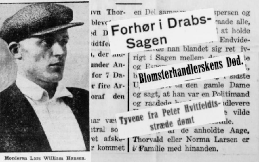 Sort hvid foto af forbryderen og collage af datidens aviser