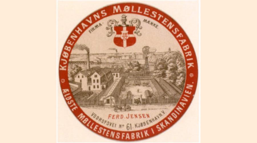 Logo med stregtegning af fabriksbygninger set fra oven