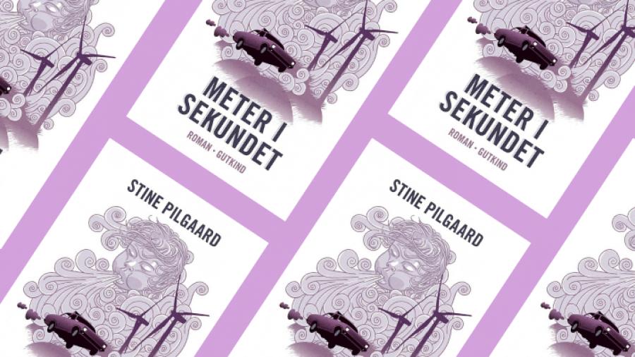 kollagebillede med bogforsider, alle sammen af 'Meter i sekundet' af Stine Pilgaard
